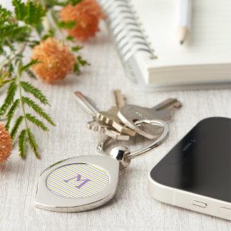 Lime & Fuchsia Stripes custom monogram key chain Silver-Colored Swirl Key Ring