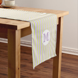 Lime & Fuchsia Stripes custom monogram table runne Short Table Runner