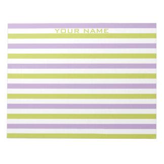 Lime & Fuchsia Stripes custom notepad