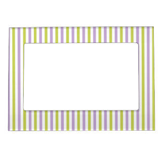 Lime & Fuchsia Stripes custom picture frame Magnetic Photo Frames