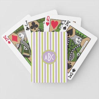 Lime & Fuchsia Stripes custom playing cards