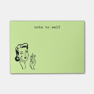Lime Funny Retro Housewife Note to Self Post-it® Notes