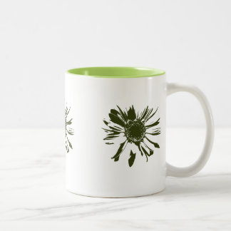 Lime Gerbera Flowers Two-Tone Coffee Mug