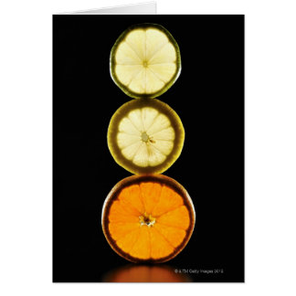 Lime,Grapefruit,Lemon,Fruit,Black background Card