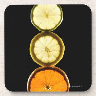 Lime,Grapefruit,Lemon,Fruit,Black background Coaster
