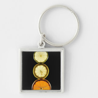 Lime,Grapefruit,Lemon,Fruit,Black background Key Ring
