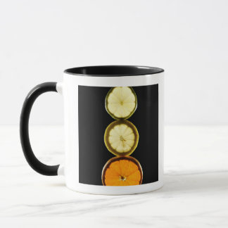 Lime,Grapefruit,Lemon,Fruit,Black background Mug