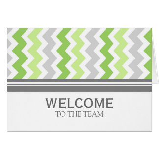 Lime Gray Chevron Employee Welcome to the Team Greeting Card