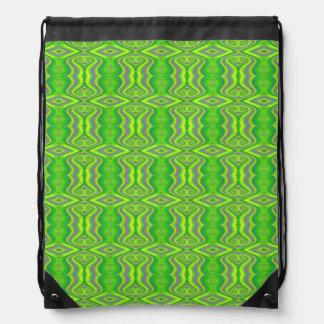 Lime Green 60 s Retro Fractal Pattern Drawstring Backpacks