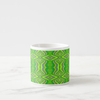 Lime Green 60 s Retro Fractal Pattern Espresso Cups
