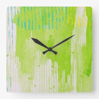 lime green abstract art square wall clock