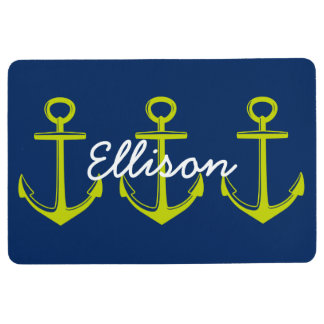 Lime Green Anchors on Navy Blue Personalized Floor Mat