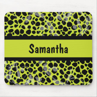 Lime Green and Black Cheetah pattern Mouse Pad
