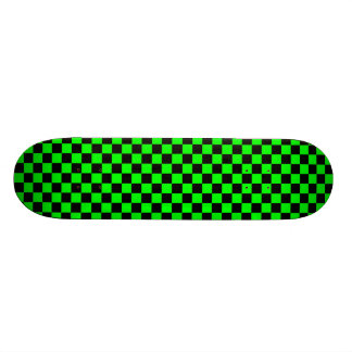 Lime Green and Black Chequered Skateboard