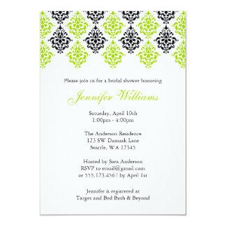 Lime Green and Black Damask Bridal Shower 13 Cm X 18 Cm Invitation Card