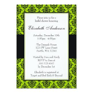 Lime Green and Black Damask Bridal Shower Card