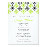 Lime Green and Black Damask Bridal Shower Custom Announcement