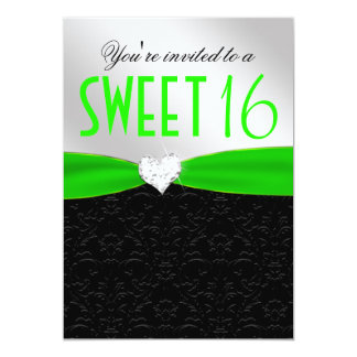 Lime Green and Black Floral Damask Diamond Heart 13 Cm X 18 Cm Invitation Card