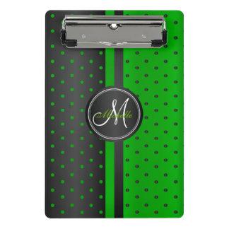 Lime Green and Black Polka Dots - Monogram Mini Clipboard