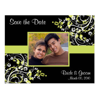 Lime Green and Black Save the Date Photo Postcards