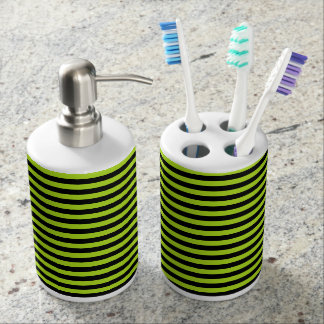 Lime Green and Black Stripes Soap Dispenser And Toothbrush Holder