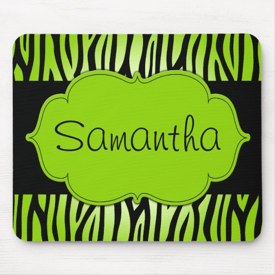 Lime Green and Black Zebra Personalised Mouse Pad