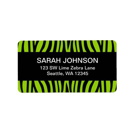 Lime Green and Black Zebra Return Address Label