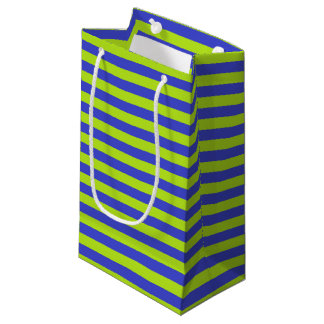 Lime Green and Blue Stripes Small Gift Bag