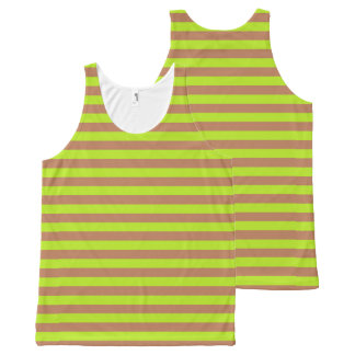 Lime Green and Brown Stripes All-Over Print Tank Top