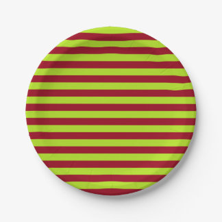 Lime Green and Burgundy Stripes Paper Plate