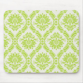 lime green and cream elegant damask pattern mouse mat
