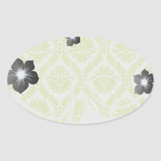lime green and cream elegant damask pattern oval stickers