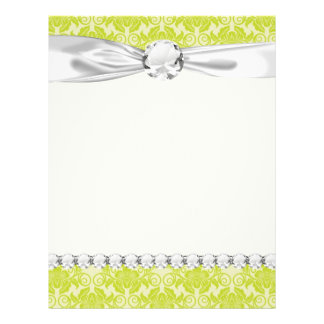 lime green and creme floral damask pattern flyer