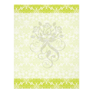 lime green and creme floral damask pattern custom flyer