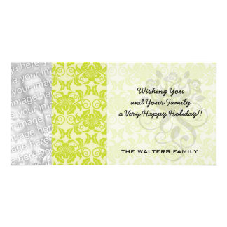 lime green and creme floral damask pattern customized photo card