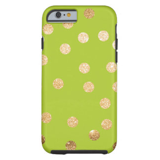 Lime Green and Gold City Dots Tough iPhone 6 Case