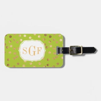Lime Green and Gold Glitter City Dots Monogram Luggage Tag
