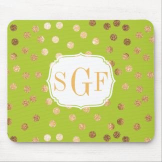 Lime Green and Gold Glitter City Dots Mousepad