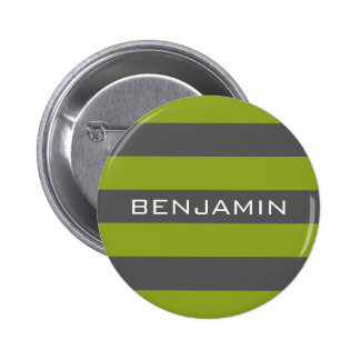 Lime Green and Gray Rugby Stripes with Custom Name 6 Cm Round Badge