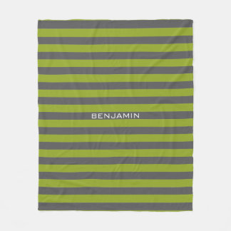 Lime Green and Gray Rugby Stripes with Custom Name Fleece Blanket