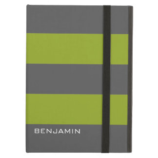 Lime Green and Gray Rugby Stripes with Custom Name Case For iPad Air
