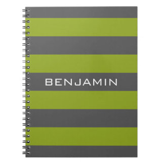 Lime Green and Gray Rugby Stripes with Custom Name Notebooks