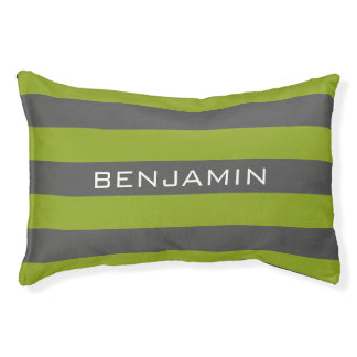 Lime Green and Gray Rugby Stripes with Custom Name Pet Bed