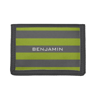 Lime Green and Gray Rugby Stripes with Custom Name Trifold Wallet