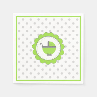 Lime Green and Grey Baby Shower Paper Napkins
