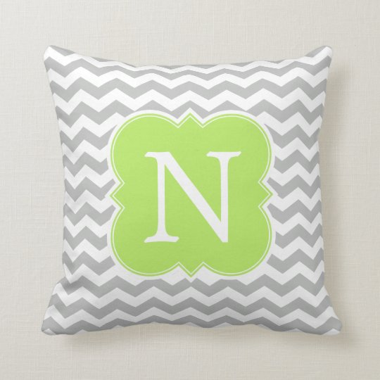 Lime Green and Grey Monogram Chevron Stripes Throw