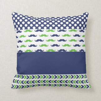 Lime Green and Navy Blue Mustache Pillow