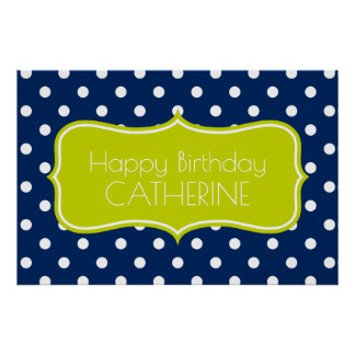 Lime Green and Navy Blue Polka Dot Personalized Poster