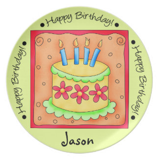 Lime Green and Orange Happy Birthday Cake Plate