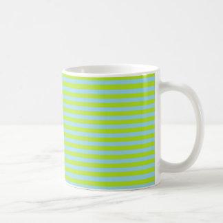 Lime Green and Pastel Blue Stripes Coffee Mug
